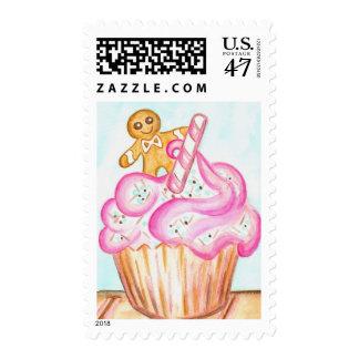 Gingerbread Boy on Cupcake Postage Stamp