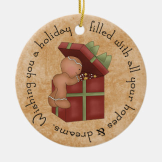 Gingerbread Boy peaking at present Double-Sided Ceramic Round Christmas Ornament