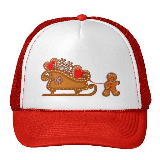 GINGERBREAD BOY & SLEIGH by SHARON SHARPE Trucker Hats