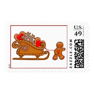 GINGERBREAD BOY & SLEIGH by SHARON SHARPE Postage Stamp
