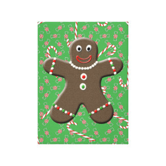 Gingerbread Boy With Christmas Candy Canvas Art