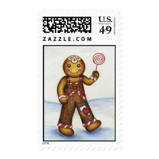Gingerbread Boy with Lolly Postage Stamps