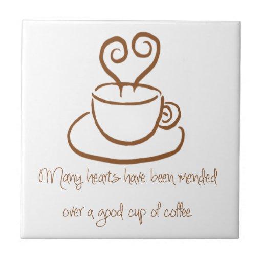 Gingerbread Brown Mended Hearts Coffee Tile Trivet