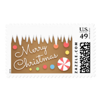 Gingerbread Candy Christmas Postage Stamp