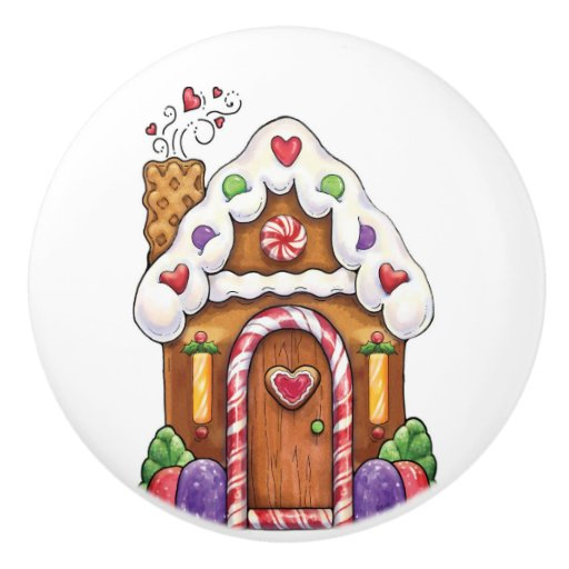 Zazzle Gingerbread Candy House Drawer Pull Knob