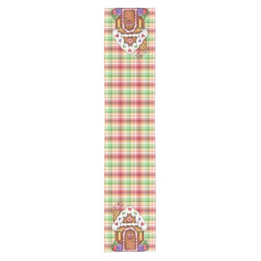 Zazzle Gingerbread Candy House Plaid Table Runner