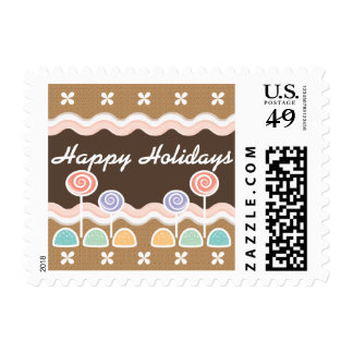 Gingerbread Candyland Happy Holidays Postage Stamps