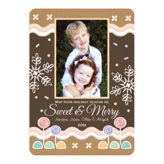 GINGERBREAD CANDYLAND HOLIDAY PHOTO CARD PERSONALIZED INVITATION