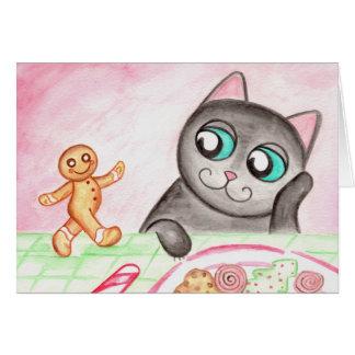Gingerbread Cat Christmas Card