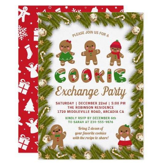 Gingerbread Christmas Decor Cookie Exchange Party Invitation