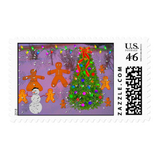 Gingerbread Christmas Postage Stamp