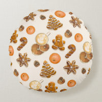 Gingerbread Christmas Scent Round Pillow