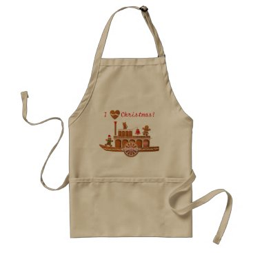 Gingerbread Christmas Steamboat Cartoon Adult Apron