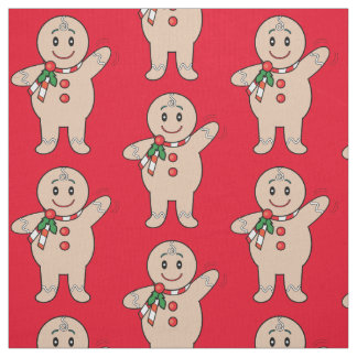 Gingerbread Cookie Boy at Christmas Fabric
