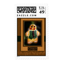 Gingerbread cookie Christmas postage stamp