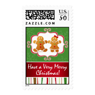 Gingerbread Cookie Couple Christmas Party Postage