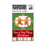 Gingerbread Cookie Couple Christmas Party Postage Stamp