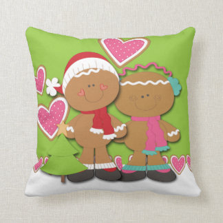 Gingerbread Cookie Couple Christmas Throw Pillows