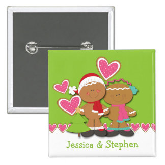 Gingerbread Cookie Couple Christmas Pinback Button
