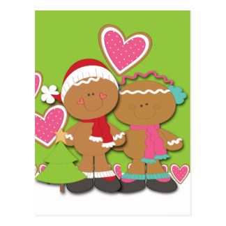 Gingerbread Cookie Couple Christmas Postcard