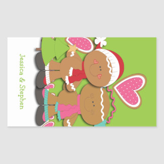 Gingerbread Cookie Couple Christmas Rectangular Stickers