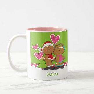 Gingerbread Cookie Couple Christmas Two-Tone Coffee Mug