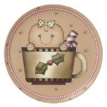 Gingerbread Cookie Cutie Candy Cane Christmas Party Plate