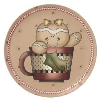 Gingerbread Cookie Cutie Candy Cane Christmas Dinner Plate