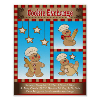 Gingerbread Cookie Exchange Gatherings | Customize Poster