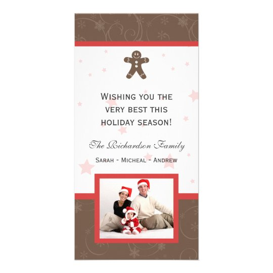 Gingerbread Cookie Happy Holidays Family Photo Car Card