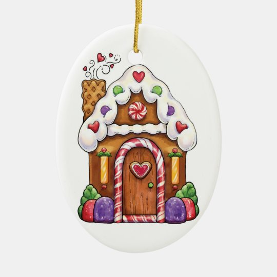 Gingerbread Cookie House & Gingerbread Man Ceramic Ornament