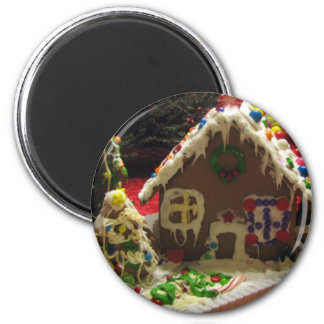 Gingerbread Cookie House 2 Inch Round Magnet