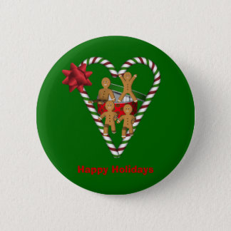 Gingerbread Cookie Men Christmas Holiday Pinback Button