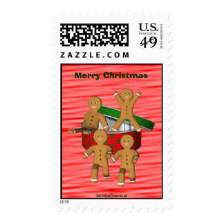 Gingerbread Cookie Men Funny Christmas Holiday Postage