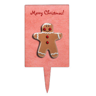 Gingerbread Cookie on Red Cake Topper