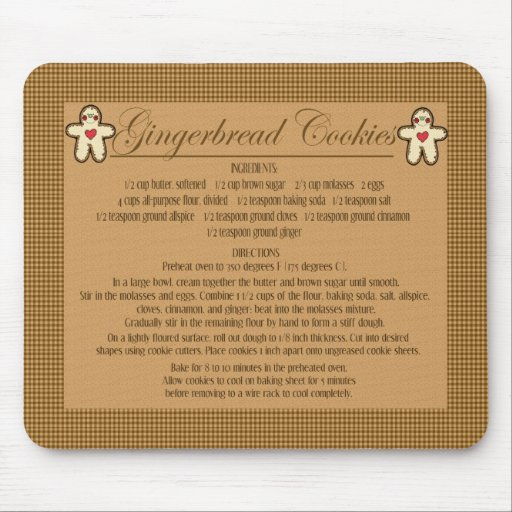 gingerbread cookie recipe mouse mat