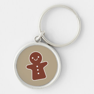 Gingerbread Cookie Silver-Colored Round Keychain
