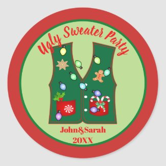 gingerbread cookie ugly christmas sweater party classic round sticker