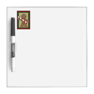 Gingerbread Cookie with Peppermint Stick Dry Erase Whiteboards