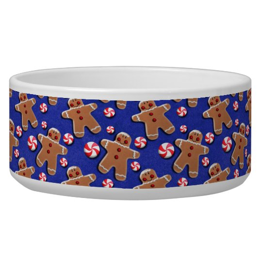 Gingerbread Cookies Candies Blue Bowl
