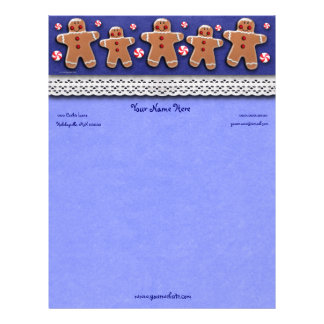 Gingerbread  Cookies Candies  Blue Letterhead
