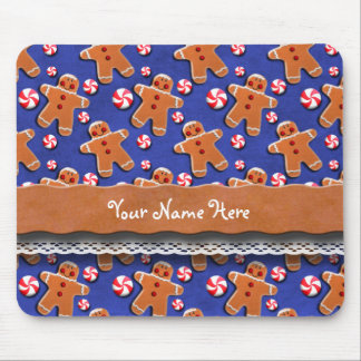 Gingerbread Cookies Candies Blue Mouse Pad