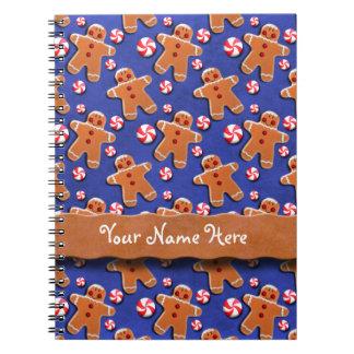 Gingerbread  Cookies Candies Blue Spiral Notebook