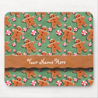 Gingerbread Cookies Candies Green Mouse Pad