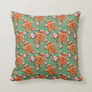 Gingerbread Cookies Candies Green Throw Pillow