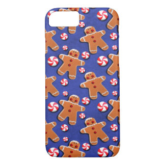 Gingerbread Cookies Candies on Blue iPhone 7 Case