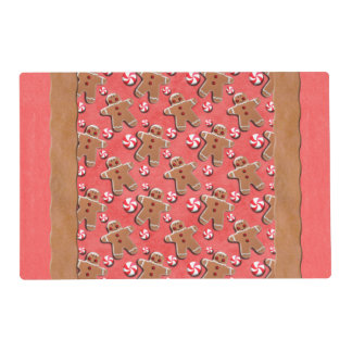 Gingerbread Cookies Candies Red Placemat