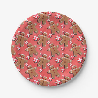 Gingerbread  Cookies Candies Red 7 Inch Paper Plate