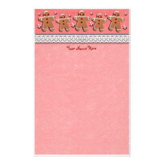 Gingerbread Cookies Candies Red Stationery