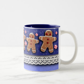 Gingerbread  Cookies Candies Sprinkles Blue Two-Tone Coffee Mug